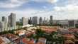 Постер, плакат: Time lapse of clouds over Kampong Glam with Singapore cityscape