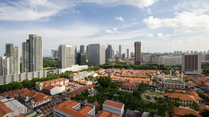 Time lapse of clouds over Kampong Glam with Singapore cityscape