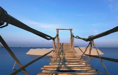 Isola tropicale, vacanza, naufragio, ponte di liane