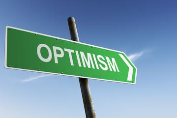Optimism direction. Green traffic sign.