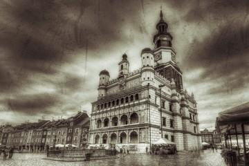 Stary rynek w Poznaniu styl retro