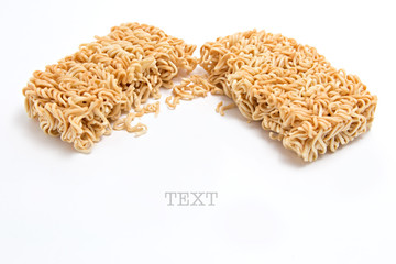 Instant noodles on white background with space for text