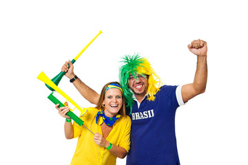 Brazilian couple supporters