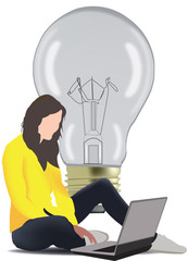 ragazza seduta con il  computer