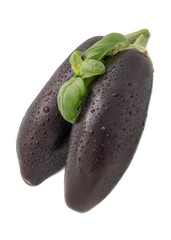 two dark purple eggplant