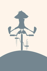 Rabbit on bicycle - silhouette