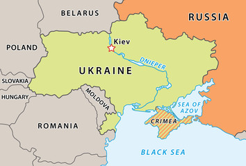 Ukraine map after Crimean crisis 2014.