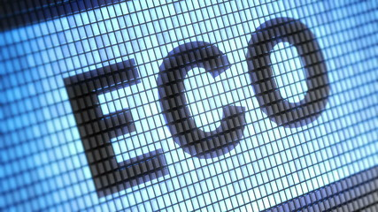 """Eco"" on screen. Looping."