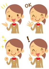 ポジティブな制服を着た女子学生(ベージュのブレザー)