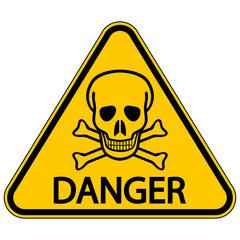 Skull and bones danger triangular sign