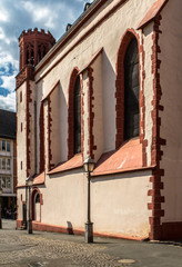 Back side of the Cathedral of St. Nicholas in Frankfurt, Germany