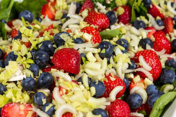 Summerberries in a mixed salad