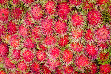 Fresh rambutan in the market