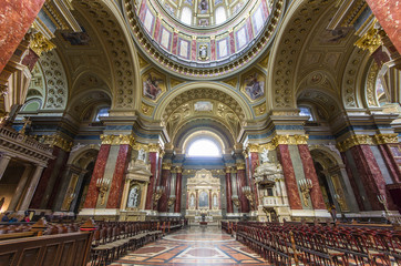 Interior of St. Stephen's Basilica, Budapest, Hungary