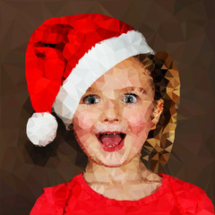 Illustration of surprised girl in santa cap