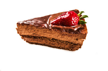 chocolate mousse cake with strawberry on top