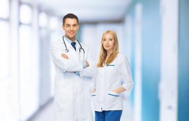 two young attractive doctors in medical facility