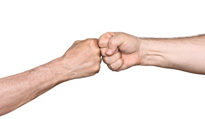 Two men bumping fists