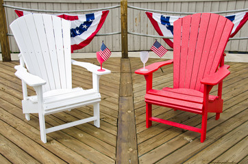 Aiderondack chairs with flags