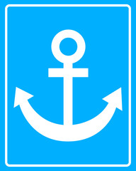 sea ​​anchor white sign
