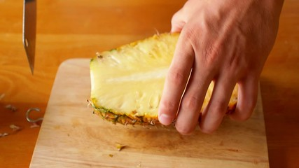 A Cook Making Fresh Pineapple Slices. Exotic Fruit Breakfast.