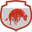 Raging Bull Jumping Attacking Charging Retro