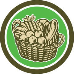 Crop Harvest Basket Circle Retro
