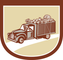 Vintage Pickup Truck Delivery Harvest Shield Retro
