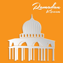 Paper Cut Out Mosque Ramadan Kareem Card