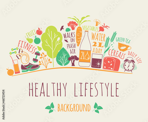 healthy lifestyle background - 66723454