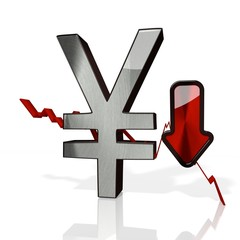 Japan Yen sign down trade