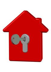 anahtarlı kırmızı ev