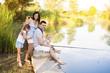 Happy family fishing