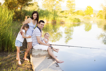 Happy family fishing