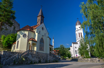 Catholic church, Orthodox church and Mosque in Bosanska Krupa