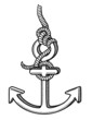 anchor in black and white vector illustration