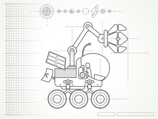 blueprint with the scheme of planet rover