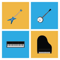 Set Of Different Colorful Musical Elements