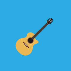 Abstract Colorful Guitar Isolated On Color Background