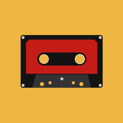 Abstract Colorful Cassette Isolated On Color Background
