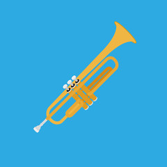 Abstract Colorful Trumpet Isolated On Color Background
