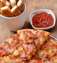 Pizza and bread stick
