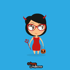 Girl With Devil Halloween Costume Isolated