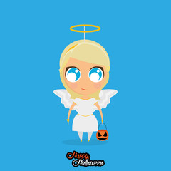 Girl With Angel Halloween Costume Isolated