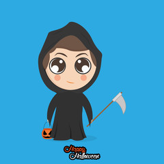 Boy With Reaper Halloween Costume Isolated