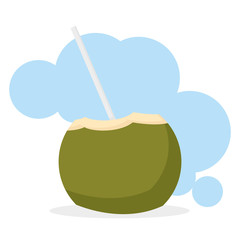 Coconut Drink Cartoon Illustration Editable With Background