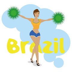 Brazil Cartoon Illustration Editable With Background