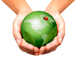 Green world with leaf and ladybug in woman hands. Vector illustr