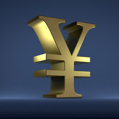Golden yen or yuan sign on blue