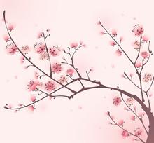 Peinture de style oriental, fleur de cerisier au printemps
